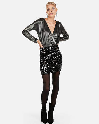 Express Petite High Waisted Velvet Sequin Mini Skirt