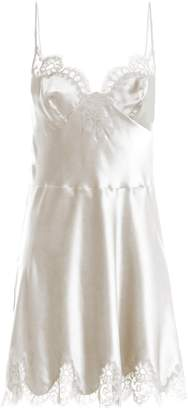 Carine Gilson Lace-trimmed silk-satin cami dress