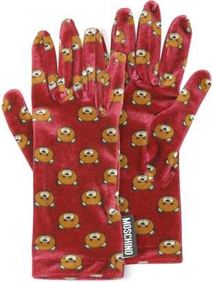 Moschino Teddy Bear Printed Velvet Gloves