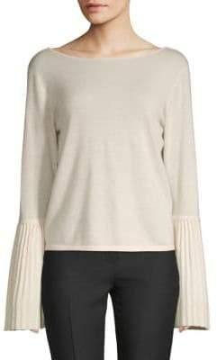 Pleated Bell-Sleeve Sweater