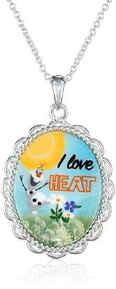 Disney Girl's Frozen -Plated Olaf I Love Heat Pendant Necklace