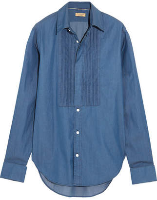 Burberry Bib-front Cotton-chambray Shirt - Dark denim