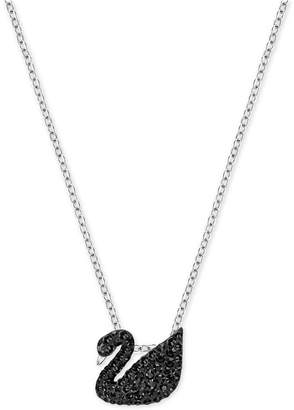 Swarovski Two-Tone Black Pavé Iconic Swan Pendant Necklace $79 thestylecure.com