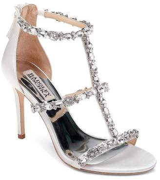 46012664cdad Badgley Mischka Women s Querida Embellished Metallic Satin High-Heel Sandals