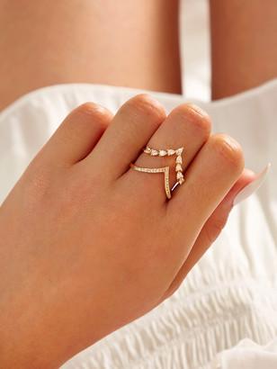 Shein Rhinestone Engraved V Shaped Ring 1pc