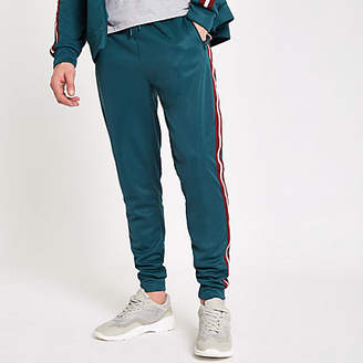 River Island Teal green slim fit tape side joggers