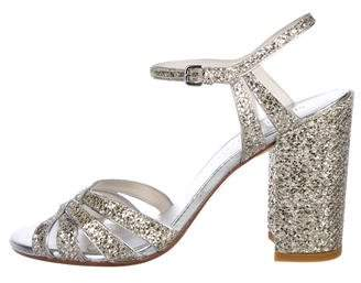 4cb2760faeb4 Silver Glitter Ankle Strap Heels - ShopStyle