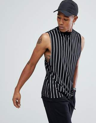 Asos Longline Vertical Stripe Sleeveless T-Shirt With Mesh Double Layer
