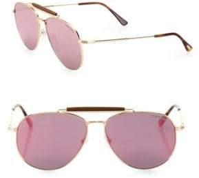 Tom Ford Sean 60MM Mirrored Aviator Sunglasses