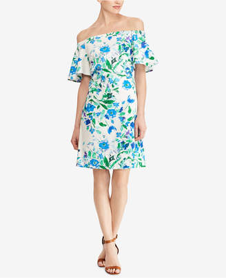 American Living Floral-Print Off-The-Shoulder Dress