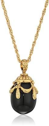 1928 Jewelry 14k Gold Dipped Semi Precious Gemstone Onyx Egg Pendant Necklace