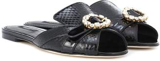 Dolce & Gabbana Snakeskin and leather slippers