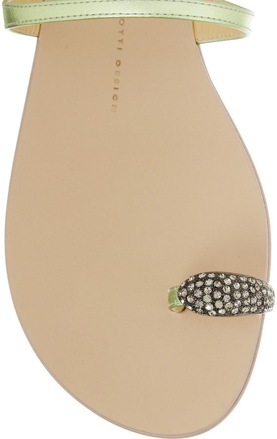 Giuseppe Zanotti Campus crystal-embellished metallic leather sandals