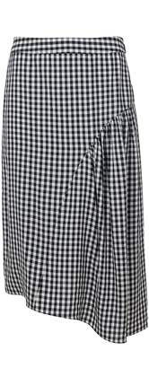 Tibi Viscose Gingham Shirred Skirt