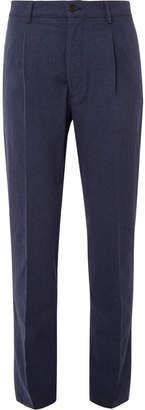 Altea Soho Tapered Pleated Slub Cotton Trousers