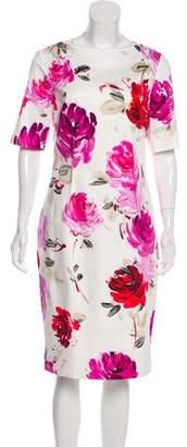 Lela Rose Watercolor Floral Print Midi Dress
