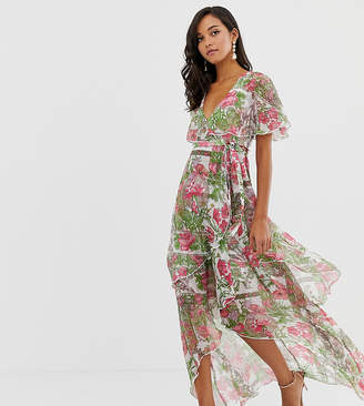 Asos DESIGN maxi dress with cape back and dipped hem in art nouveau print