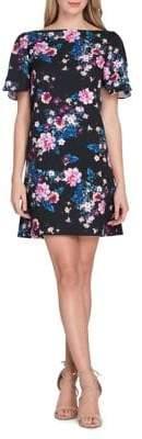 Tahari Floral and Pearl Scuba Shift Dress