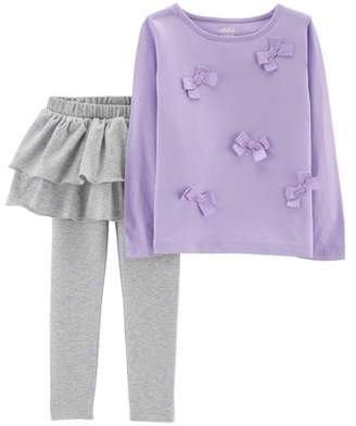 Carter's Child of Mine by Long Sleeve Bow T-Shirt & Skeggings, 2-Piece Outfit Set (Toddler Girls)