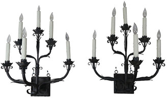 One Kings Lane Vintage Pair of Spanish Wrought Iron Sconces