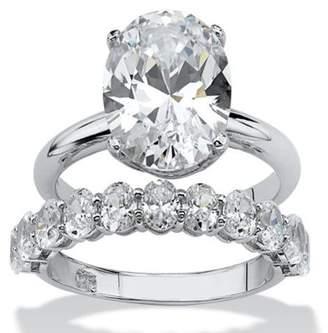 PalmBeach Jewelry Palm Beach Jewelry 6.91 TCW Oval-Cut Cubic Zirconia Platinum over Sterling Silver Wedding Band Set - Size 8