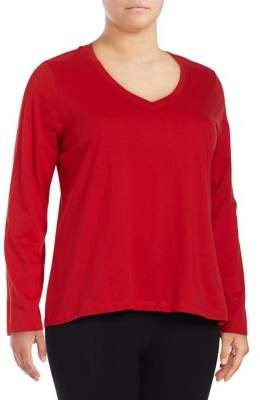Lord & Taylor Plus V-Neck Cotton Tee