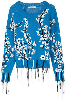Cédric Charlier frayed edges knit pullover