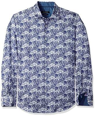 Bugatchi Men's Slim Fit Leaf Printed Long Sleeve Point Collar Shirt