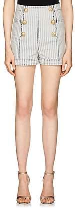 Balmain Women's Striped Denim High-Waist Shorts - White