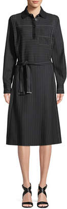 Piazza Sempione Long-Sleeve Belted A-Line Pinstripe Shirtdress w/ Knit Collar