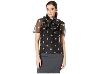 Anne Klein Medium Dot Print Organza Tie Front Blouse