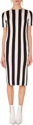 Akris Punto Kodak Stripe Knit Wool Midi Dress