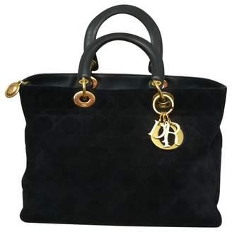 Christian Dior Vintage Lady Blue Suede Handbag