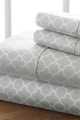 IENJOY HOME Home Spun Premium Ultra Soft Quatrefoil Pattern 4-Piece California King Bed Sheet Set - Gray