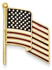 Jewelrypot 14k Yellow Gold Enameled Flag Pin Charm (1.1in long x 0.8in wide)