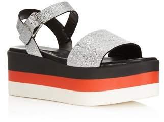 Aqua Women's Cruz Leather Striped Platform Sandals - 100% Exclusive
