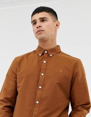 Farah Brewer Slim Fit Oxford Shirt in Tan