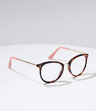 LOFT Metallic Arm Tortoiseshell Print Round Reading Glasses
