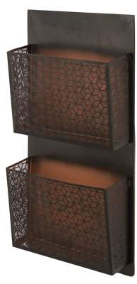 DecMode Decmode Traditional Iron Pierced Lattice-Designed Black Wall Mounted 2-Pocket Letter Holder, Black