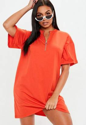 Missguided Orange Oversized Zip Front T-Shirt Dress
