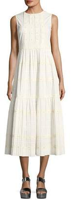 RED Valentino Long Tiered A-line Cotton Dress