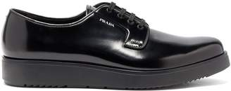 Prada Raised-sole patent-leather derby shoes