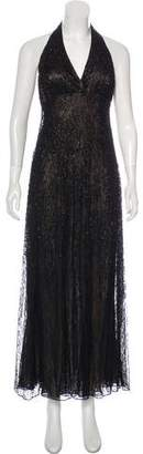 Carmen Marc Valvo Embellished Lace Dress
