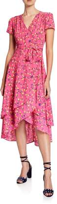 Betsey Johnson Vintage Tulip Roses Faux-Wrap High-Low Dress