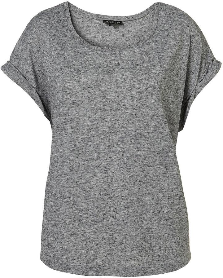 Grey Oversize Roll Sleeve Tee
