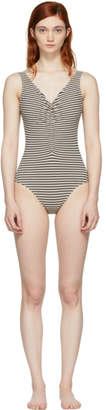 Totême Navy and Beige Sondrio Gathered Front Swimsuit