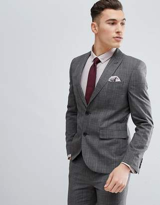 Next Skinny Suit Jacket In Natural Check