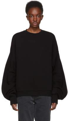 R 13 Black Pleated Sleeve Sweatshirt