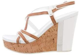 Prada Sport Ankle Strap Patent Leather-Trimmed Wedges