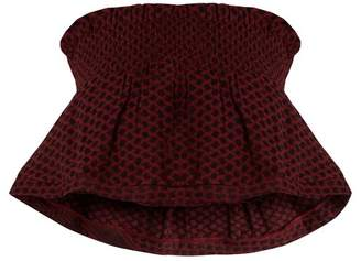 Cecilie Copenhagen - Bandeau Scarf Jacquard Cotton Cropped Top - Womens - Burgundy